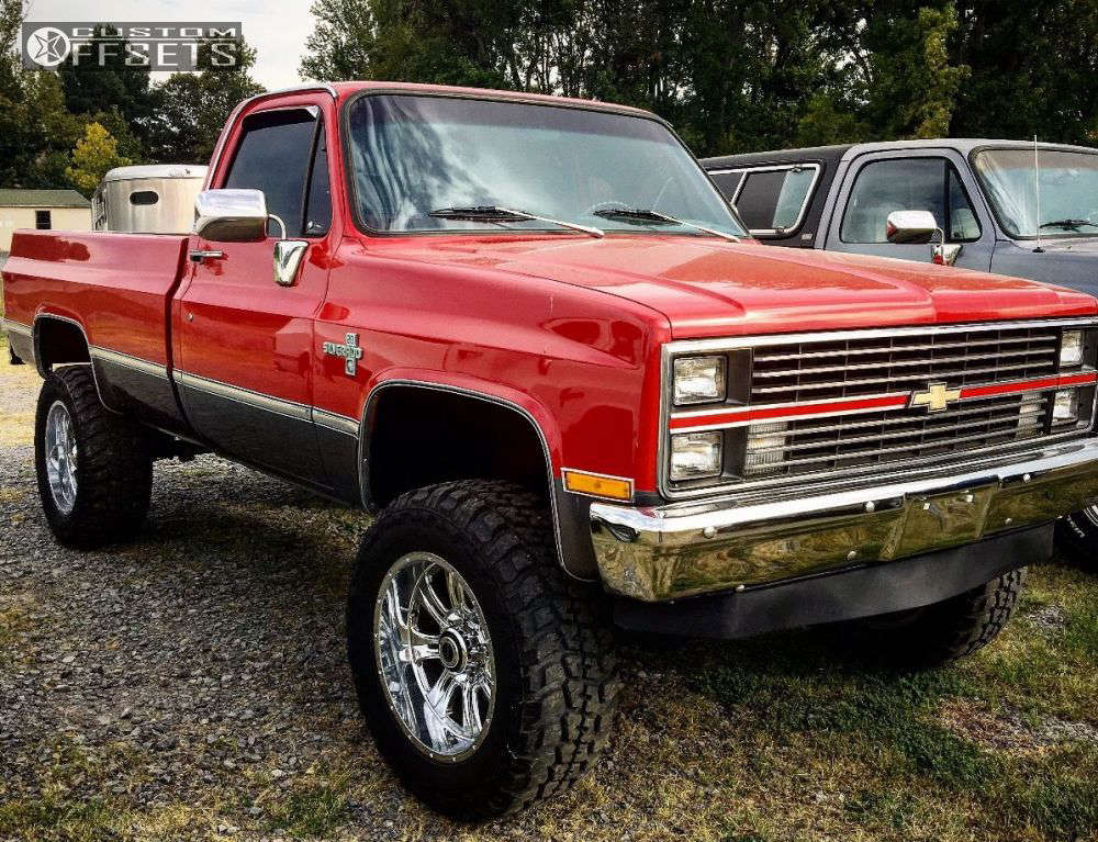 """1982 Chevrolet K20 Aggressive > 1"""" outside fender on 20x10 -25 offset Ultra Predator & 35""""x12.5"""" Federal Couragia Mt on Suspension Lift 4"""" - Custom Offsets Gallery"""