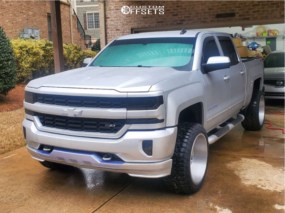 """2018 Chevrolet Silverado 1500 Aggressive > 1"""" outside fender on 22x12 -51 offset Cali Offroad Gemini and 33""""x12.5"""" Haida Hd878 R/t on Leveling Kit & Body Lift - Custom Offsets Gallery"""