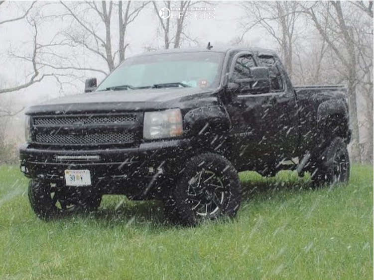 """2010 Chevrolet Silverado 1500 Aggressive > 1"""" outside fender on 20x10 -12 offset XF Offroad Xf-205 and 35""""x12.5"""" Atturo Trail Blade Mt on Air Suspension - Custom Offsets Gallery"""