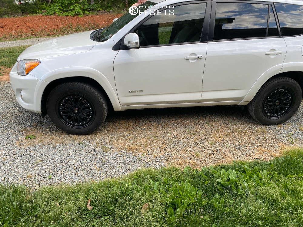 "2012 Toyota RAV4 Aggressive > 1"" outside fender on 17x7 38 offset XXR 521 and 25""x16.5"" Yokohama Geolandar Suv G055 on Stock Suspension - Custom Offsets Gallery"