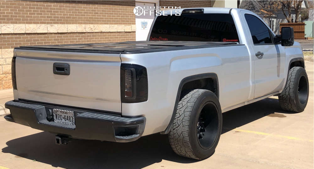 """2014 GMC Sierra 1500 Super Aggressive 3""""-5"""" on 20x12 -44 offset Vision Sliver and 305/50 Nitto Nt420v on Level 2"""" Drop Rear - Custom Offsets Gallery"""