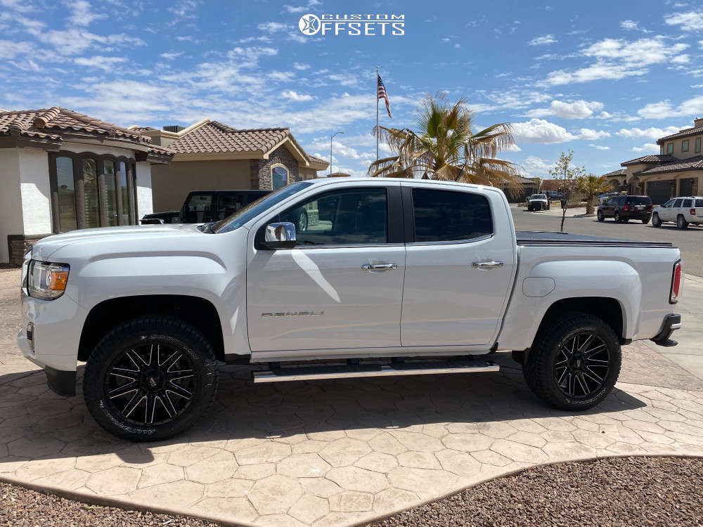 2021 GMC Canyon Slightly Aggressive on 20x9 0 offset Moto Metal Mo998 and 275/55 Pirelli Scorpion All Terrain Plus on Stock - Custom Offsets Gallery