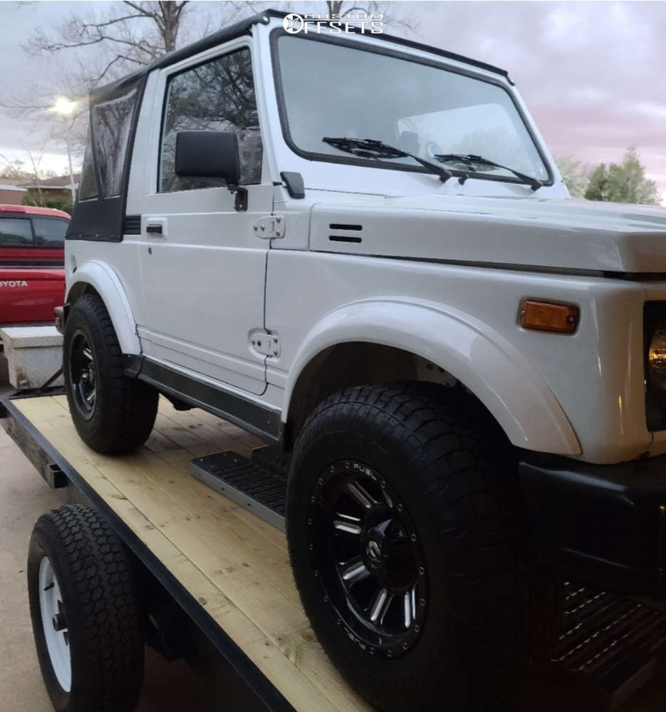 1988 Suzuki Samurai Slightly Aggressive on 15x8 -18 offset Fuel Hardline & 235/75 Toyo Tires Open Country A/t Ill on Stock Suspension - Custom Offsets Gallery
