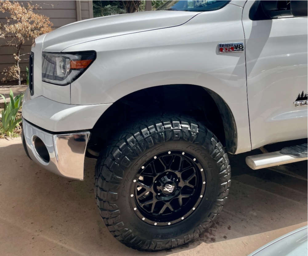 """2010 Toyota Tundra Aggressive > 1"""" outside fender on 18x9 18 offset XD Xd820 and 35""""x12.5"""" Nitto Ridge Grappler on Suspension Lift 3.5"""" - Custom Offsets Gallery"""