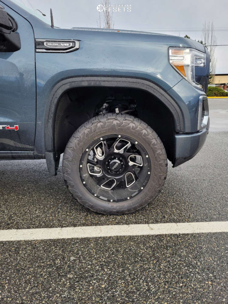 """2021 GMC Sierra 1500 Aggressive > 1"""" outside fender on 20x10 -25 offset Ultra Carnage & 33""""x12.5"""" Toyo Tires Open Country A/t Iii on Leveling Kit - Custom Offsets Gallery"""