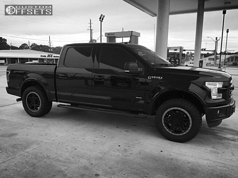 """2016 Ford F-150 Aggressive > 1"""" outside fender on 20x9 18 offset Gear Off-Road Endurance and 305""""x55"""" Nitto Terra Grappler G2 on Leveling Kit - Custom Offsets Gallery"""