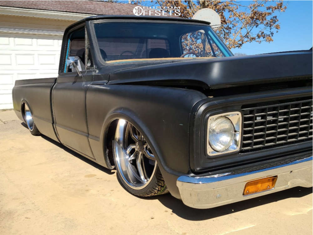 """1972 Chevrolet C10 Pickup Tucked on 22x8.5 1 offset US Mags C-ten and 27""""x9.5"""" Atturo Az800 on Air Suspension - Custom Offsets Gallery"""