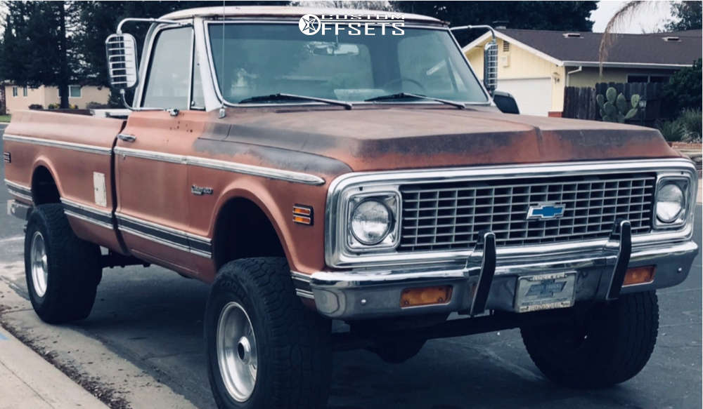 """1971 Chevrolet K20 Pickup Aggressive > 1"""" outside fender on 16x9.5 0 offset Weld Racing Typhoon and 285/75 Cooper Cobra on Suspension Lift 4"""" - Custom Offsets Gallery"""
