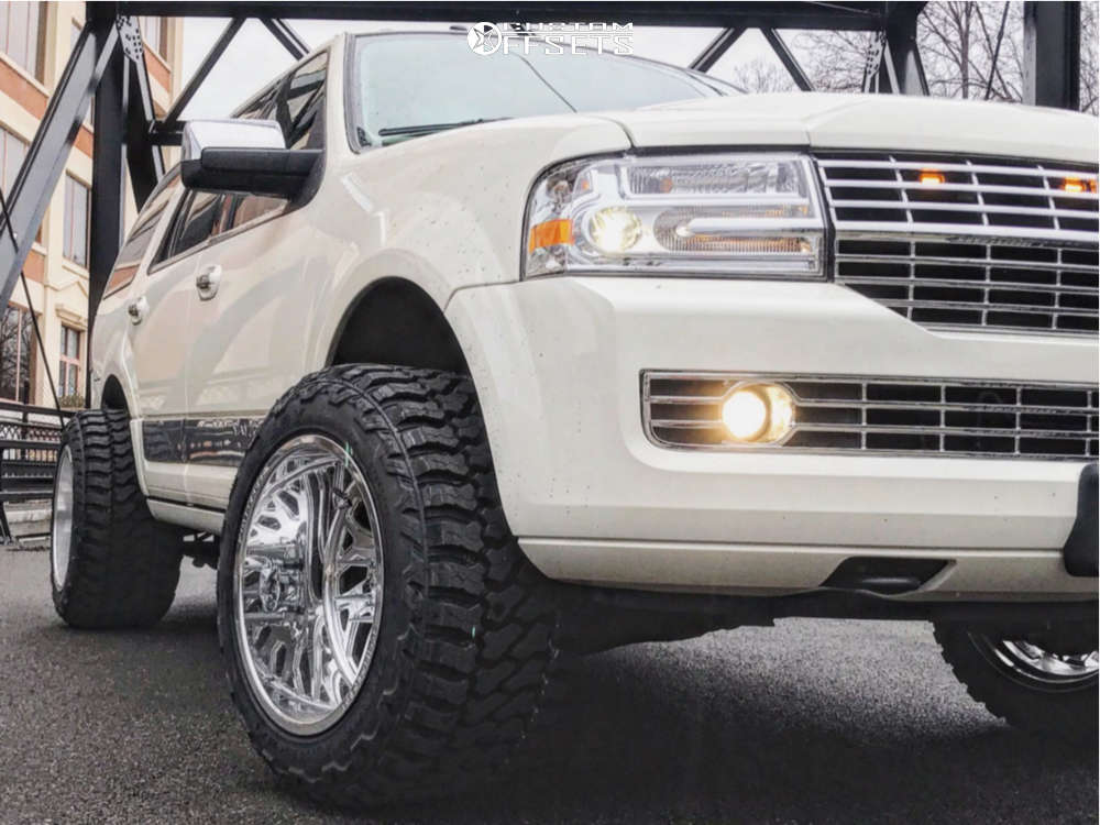 """2008 Lincoln Navigator Hella Stance >5"""" on 20x14 -76 offset KG1 Forged Yaz and 33""""x14.5"""" Fury Offroad Country Hunter M/t on Suspension Lift 4"""" - Custom Offsets Gallery"""