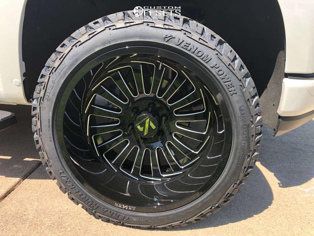 "2019 Chevrolet Silverado 1500 Super Aggressive 3""-5"" on 22x12 -51 offset ARKON OFF-ROAD Alexander and 33""x12.5"" Venom Power Terra Hunter X/T on Leveling Kit - Custom Offsets Gallery"