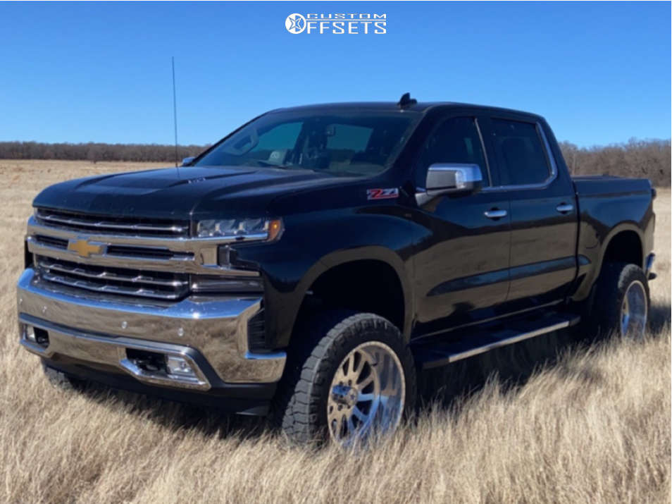 """2019 Chevrolet Silverado 1500 Aggressive > 1"""" outside fender on 22x12 -40 offset American Force Octane Ss and 35""""x12.5"""" Nitto Ridge Grapplers on Suspension Lift 7"""" - Custom Offsets Gallery"""