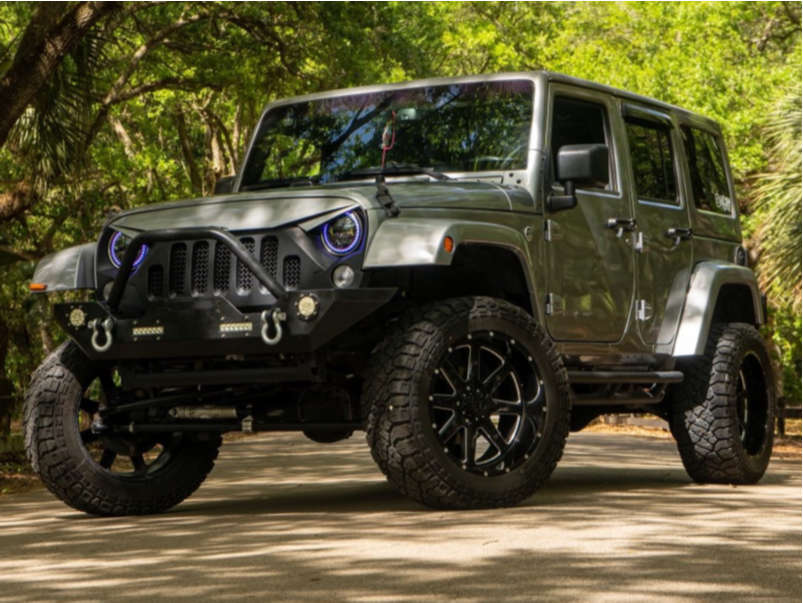 """2016 Jeep Wrangler Aggressive > 1"""" outside fender on 20x10 -24 offset Tuff T15 & 33""""x12.5"""" Kenda Klever R/t on Suspension Lift 4"""" - Custom Offsets Gallery"""