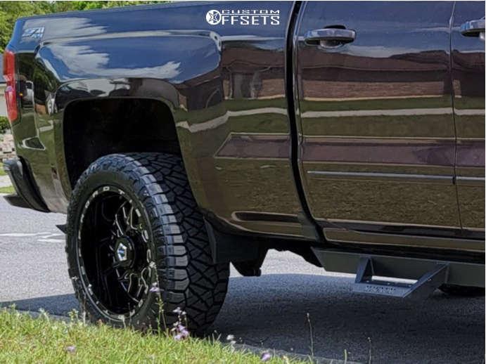 "2016 Chevrolet Silverado 1500 Aggressive > 1"" outside fender on 20x10 -25 offset TIS 544bm and 275/55 Nitto Ridge Grappler on Leveling Kit & Body Lift - Custom Offsets Gallery"