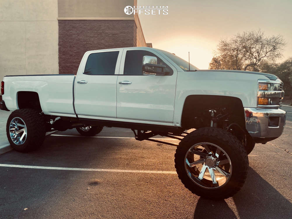 """2015 Chevrolet Silverado 3500 HD Super Aggressive 3""""-5"""" on 24x14 -81 offset ARKON OFF-ROAD Lincoln and 40""""x15.5"""" Toyo Tires Open Country M/t on Suspension Lift 12"""" - Custom Offsets Gallery"""