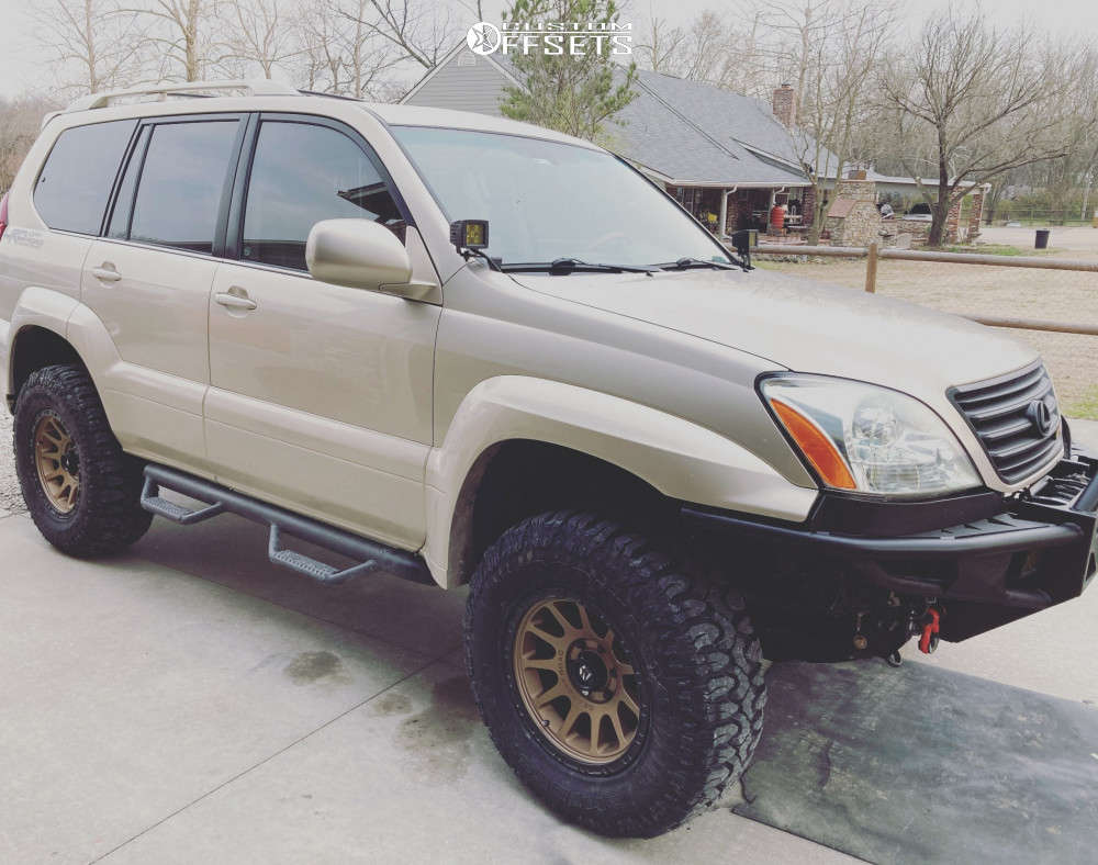 """2006 Lexus GX470 Aggressive > 1"""" outside fender on 17x8.5 0 offset Gear Off-Road Proto Call and 285/70 Milestar Patagonia Mt on Suspension Lift 3"""" - Custom Offsets Gallery"""