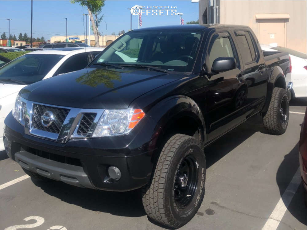 """2019 Nissan Frontier Aggressive > 1"""" outside fender on 16x8 -12 offset Vision Soft 8 and 265/70 Cooper Discoverer At3 on Leveling Kit - Custom Offsets Gallery"""