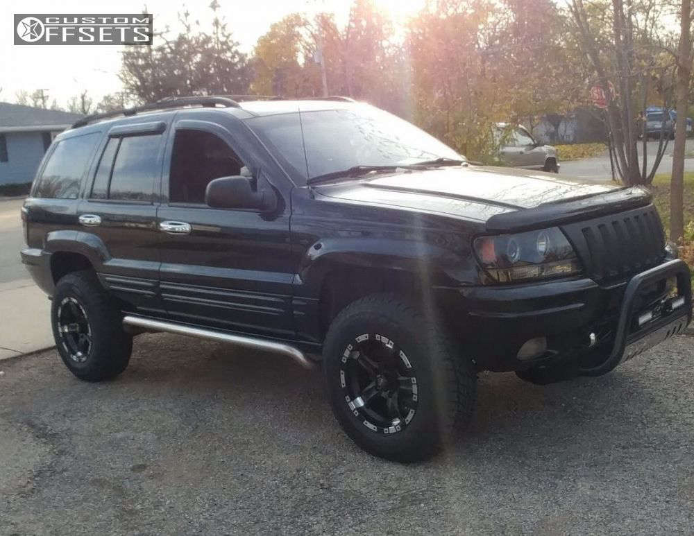 """2001 Jeep Grand Cherokee Slightly Aggressive on 16x8.5 -6 offset Mb Wheels Chaos & 265/70 Hercules Avalanche R G2 on Body Lift 3"""" - Custom Offsets Gallery"""