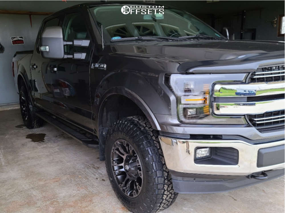 2020 Ford F-150 HellaFlush on 18x9 19 offset Fuel Vapor and 275/70 Toyo Tires Open Country A/T III on Leveling Kit - Custom Offsets Gallery