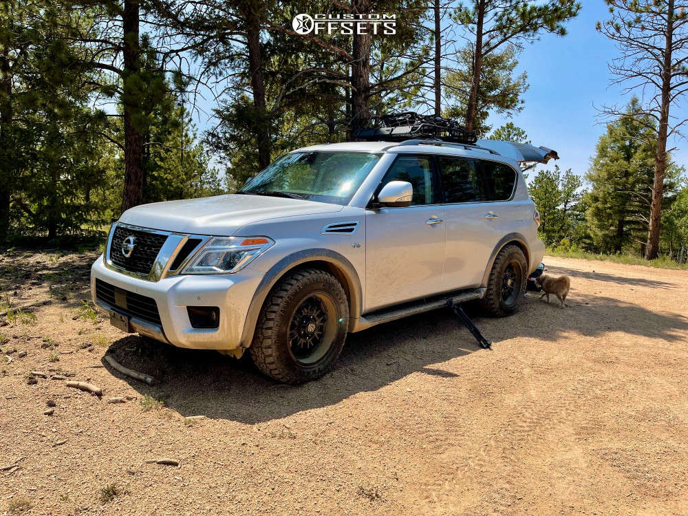 2019 Nissan Armada Slightly Aggressive on 20x9 0 offset Panther Offroad 580 & 275/65 Kanati Trail Hog on Stock Suspension - Custom Offsets Gallery
