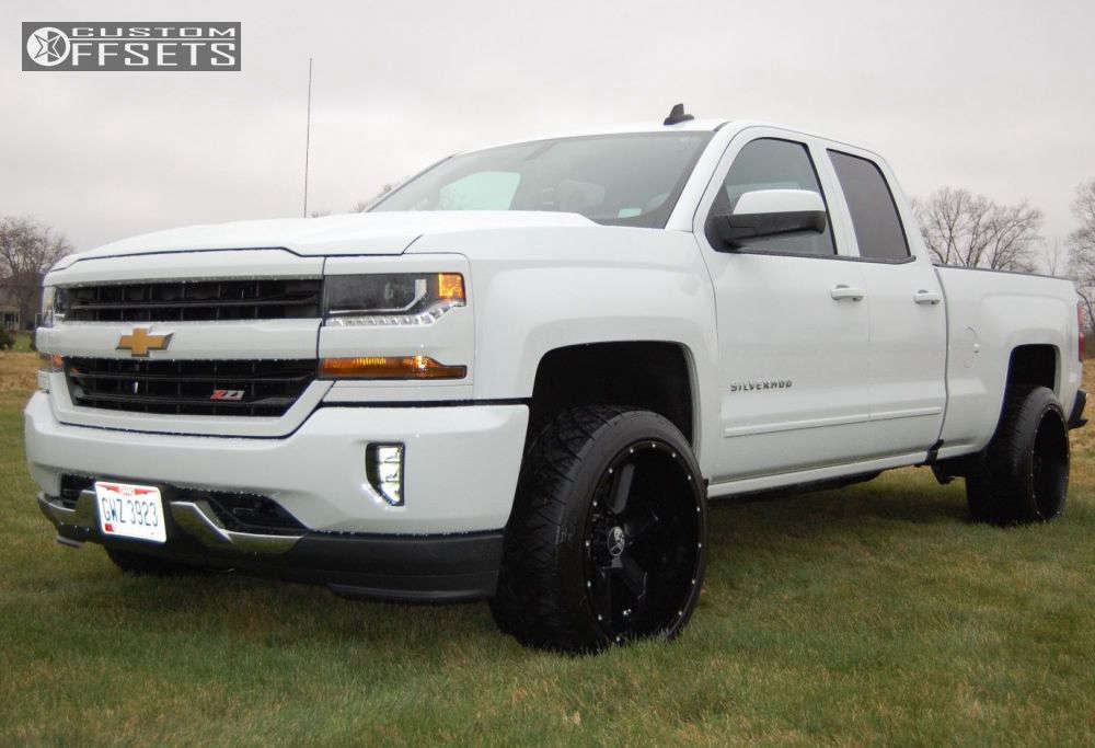 """2016 Chevrolet Silverado 1500 Super Aggressive 3""""-5"""" on 22x12 -44 offset Hostile Switch Blade & 305/40 Nitto NT420S on Leveling Kit - Custom Offsets Gallery"""