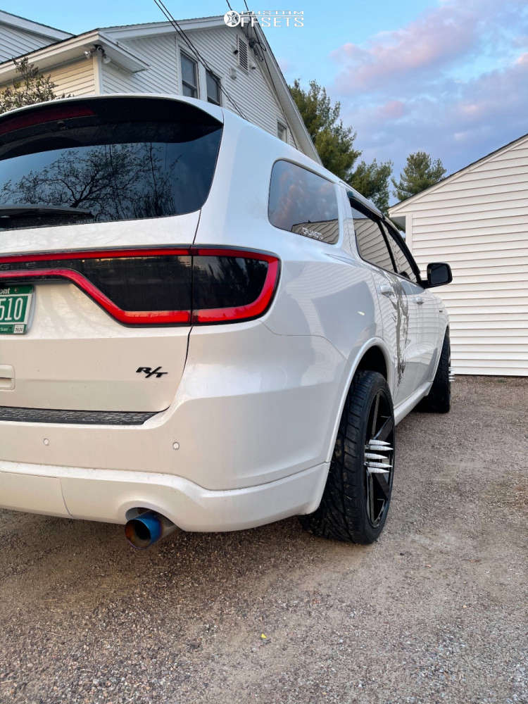 "2021 Dodge Durango HellaFlush on 22x10.5 18 offset Niche Milan & 35""x10.5"" Toyo Tires Proxes ST III on Stock Suspension - Custom Offsets Gallery"