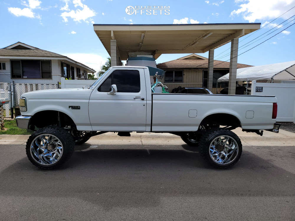 """1993 Ford F-350 Aggressive > 1"""" outside fender on 22x14 -76 offset Vision Spider and 33""""x12.5"""" Kanati Mud Hog on Suspension Lift 4"""" - Custom Offsets Gallery"""
