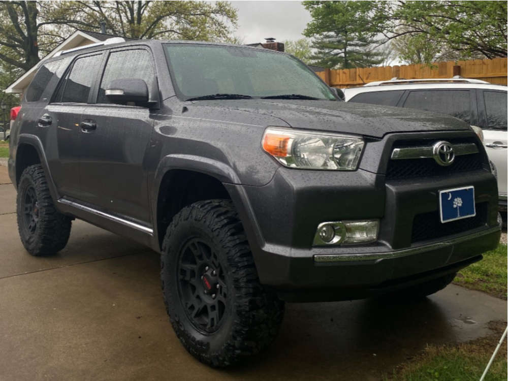 """2011 Toyota 4Runner Slightly Aggressive on 17x7 4 offset Toyota TRD Pro Wheels and 285/70 Milestar Patagonia Mt on Suspension Lift 3"""" - Custom Offsets Gallery"""