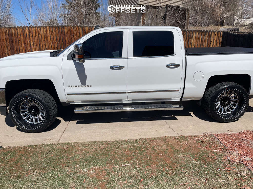 """2016 Chevrolet 1500 Aggressive > 1"""" outside fender on 22x12 -55 offset American Force Battery Cc and 305/40 Venom Power Terra Hunter X/t on Leveling Kit - Custom Offsets Gallery"""