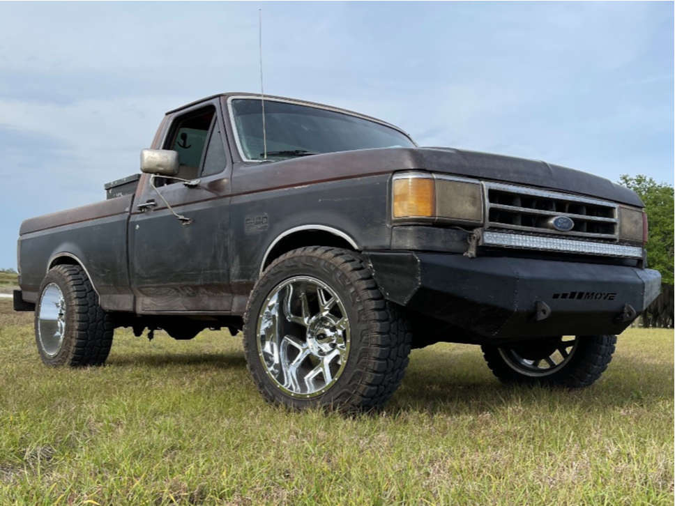 """1990 Ford F-150 Super Aggressive 3""""-5"""" on 20x12 -51 offset Vision Sliver and 33""""x12.5"""" Federal Xplora Rt on Leveling Kit - Custom Offsets Gallery"""