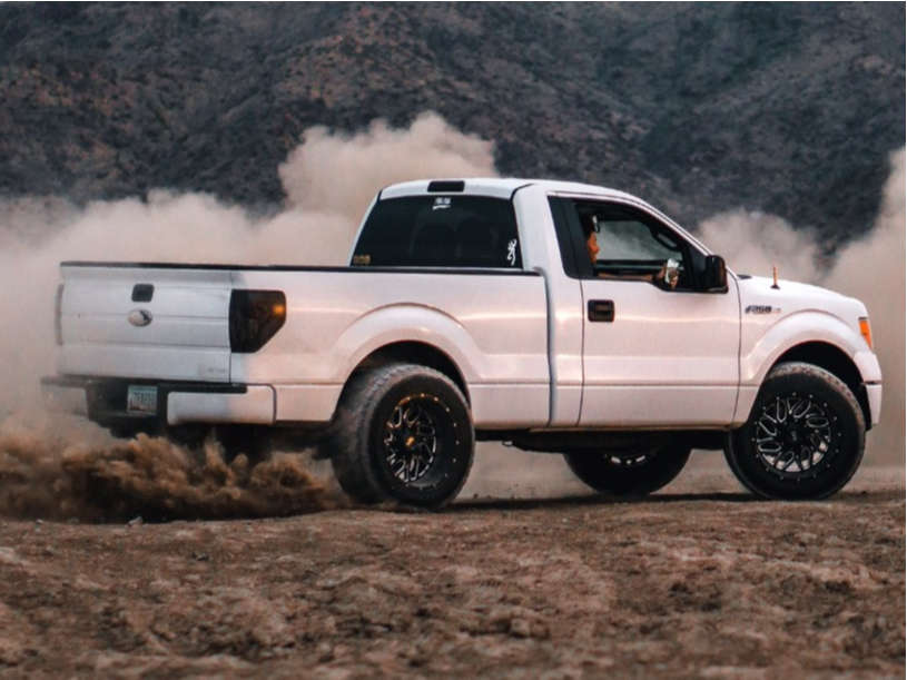 """2013 Ford F-150 Hella Stance >5"""" on 20x12 -51 offset Hardrock Destroyer and 35""""x12.5"""" Nitto Terra Grappler G2 on Leveling Kit - Custom Offsets Gallery"""