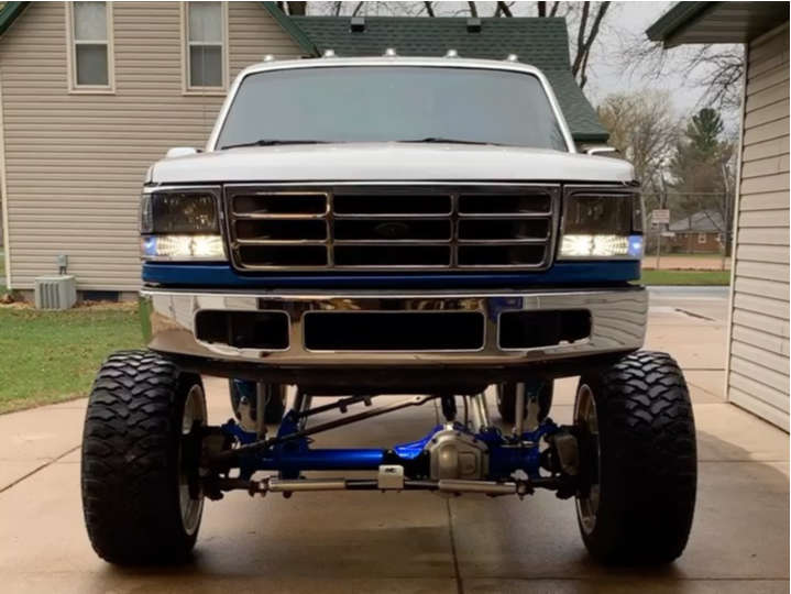 """1997 Ford F-350 Hella Stance >5"""" on 24x14 -76 offset Specialty Forged Sf015 and 37""""x13.5"""" RBP Repulsor Mt on Lifted >12"""" - Custom Offsets Gallery"""