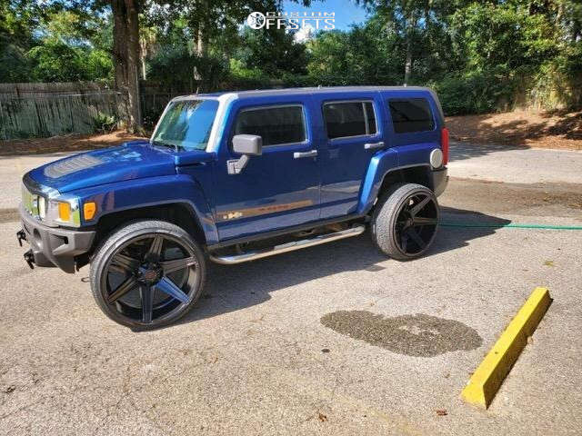"""2006 HUMMER H3 Aggressive > 1"""" outside fender on 26x12 -45 offset Tuff T12 & 305/30 Nankang Ns-25 on Stock Suspension - Custom Offsets Gallery"""