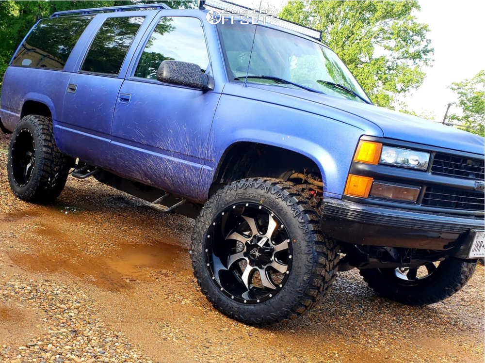 """1999 Chevrolet K1500 Suburban Super Aggressive 3""""-5"""" on 22x12 -44 offset Karma Offroad K27 and 36""""x13.5"""" Versatyre Mxt on Stock Suspension - Custom Offsets Gallery"""