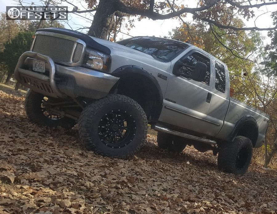 """2000 Ford F-250 Super Duty Aggressive > 1"""" outside fender on 20x12 -44 offset Fuel Krank and 38""""x15.5"""" Mickey Thompson Baja MTZ on Suspension Lift 8"""" - Custom Offsets Gallery"""