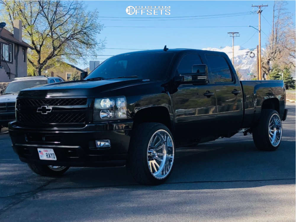"""2009 Chevrolet Silverado 2500 HD Aggressive > 1"""" outside fender on 24x12 0 offset American Force Quantum Cc and 305/35 Nitto Nt420v on Level 2"""" Drop Rear - Custom Offsets Gallery"""