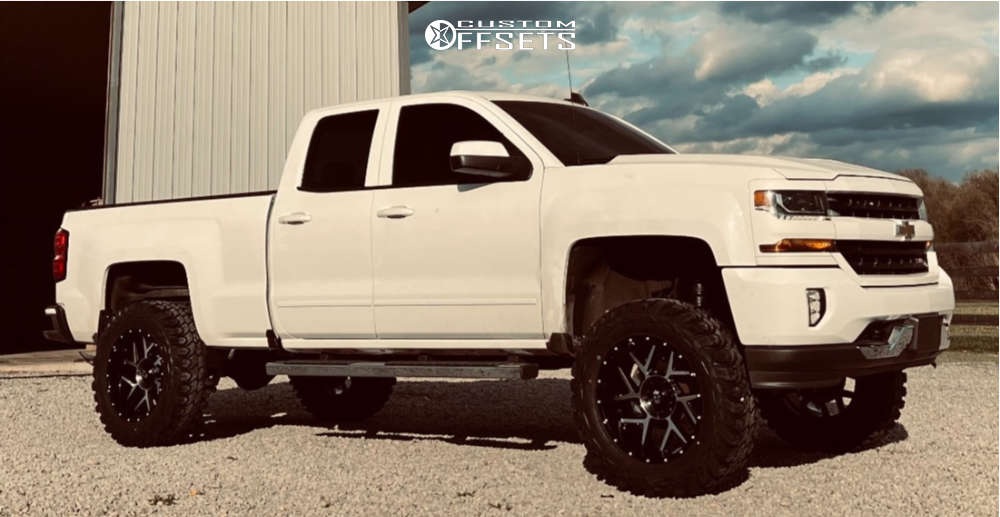 """2016 Chevrolet 1500 Aggressive > 1"""" outside fender on 20x9 -29 offset Vision Sliver and 35""""x12.5"""" Gladiator Xcomp Mt on Suspension Lift 7"""" - Custom Offsets Gallery"""