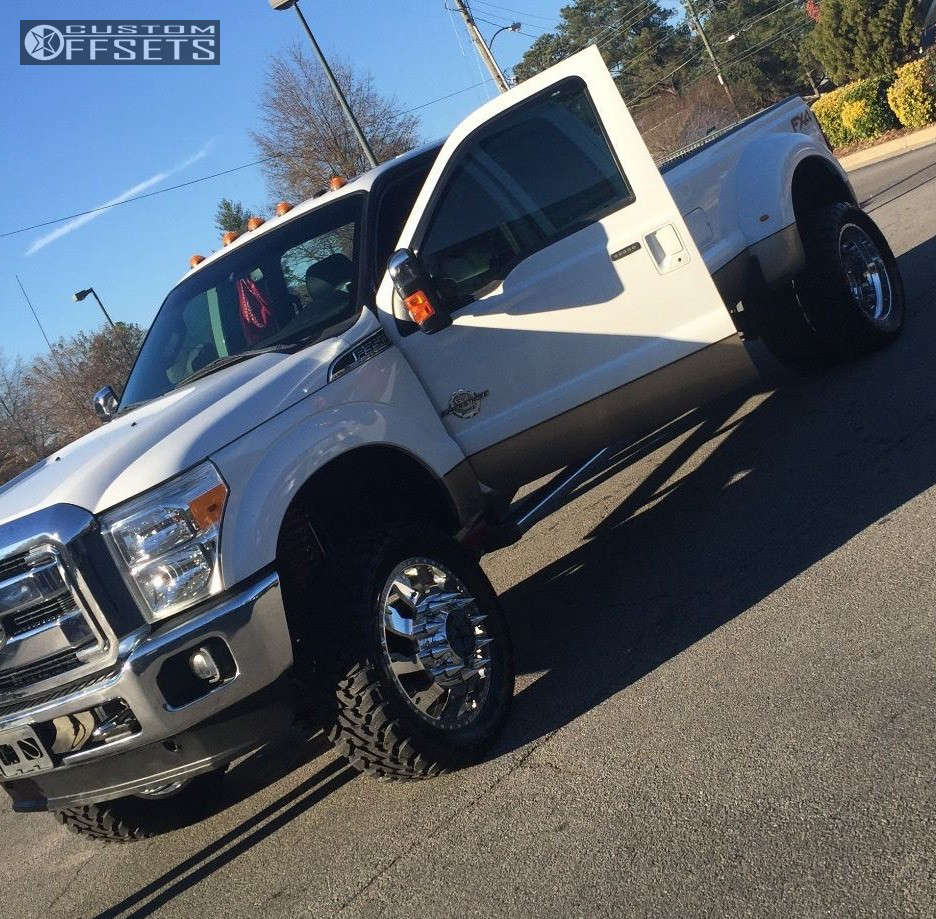 """2013 Ford F-350 Super Duty Aggressive > 1"""" outside fender on 24x8.5 0 offset American Force Raptor SS and 37""""x13.5"""" Toyo Tires Open Country M/T on Suspension Lift 8"""" - Custom Offsets Gallery"""