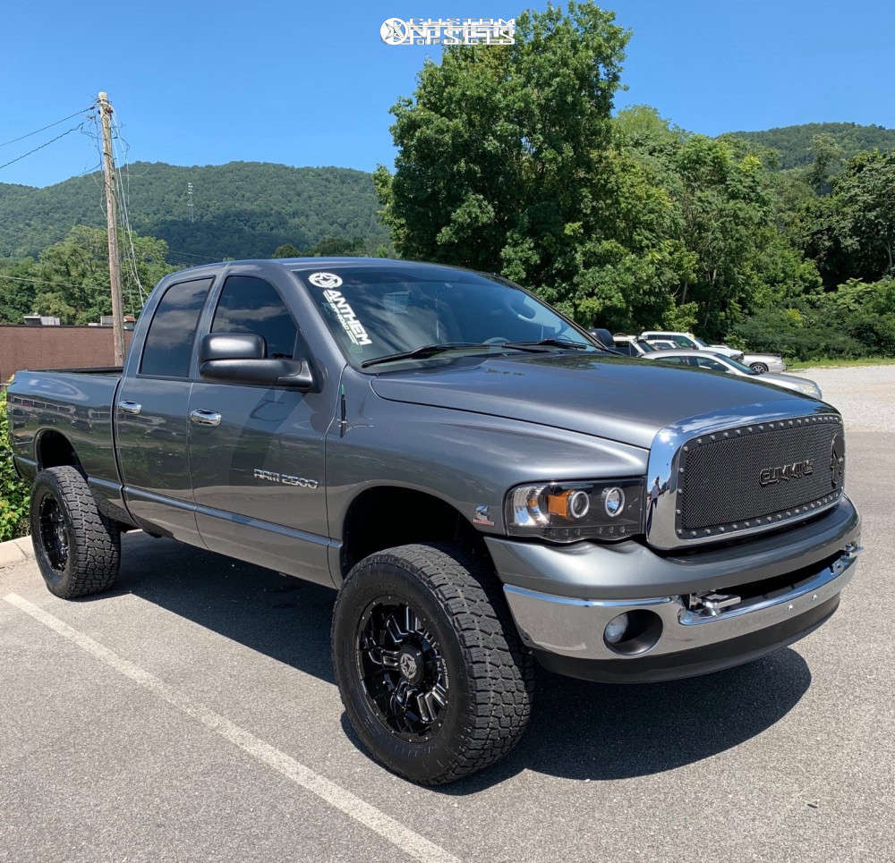 """2005 Dodge Ram 2500 Hella Stance >5"""" on 24x14 0 offset Hostile Forged Tomahawk and 38""""x14"""" Toyo Open Country Mt on Stock Suspension - Custom Offsets Gallery"""