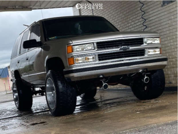 """1999 Chevrolet Tahoe Aggressive > 1"""" outside fender on 20x12 0 offset Vision Rocker and 33""""x12.5"""" Toyo Open Country Mt on Stock Suspension - Custom Offsets Gallery"""