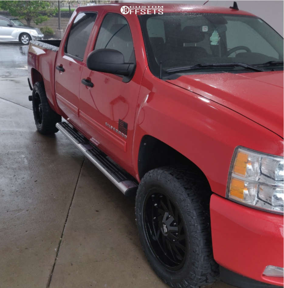 """2011 Chevrolet Silverado 1500 Slightly Aggressive on 20x9 0 offset Hardrock Crusher H704 and 33""""x12.5"""" Nitto Ridge Grapplers on Suspension Lift 2.5"""" - Custom Offsets Gallery"""