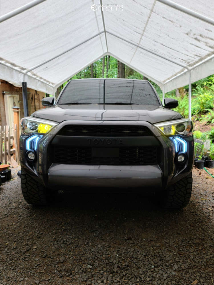 "2021 Toyota 4Runner Aggressive > 1"" outside fender on 20x9 0 offset Anthem Off-Road Avenger & 32""x11.5"" Nitto Ridge Grapplers on Stock Suspension - Custom Offsets Gallery"