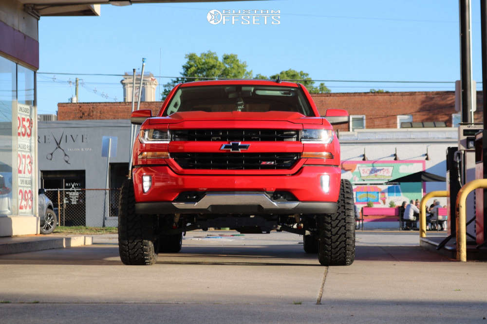 """2016 Chevrolet 1500 Super Aggressive 3""""-5"""" on 24x12 -44 offset TIS 544bm and 35""""x13.5"""" Fury Offroad Country Hunter M/t on Suspension Lift 7"""" - Custom Offsets Gallery"""