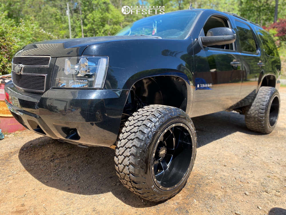 """2007 Chevrolet Tahoe Hella Stance >5"""" on 22x14 -76 offset Moto Metal 962 and 35""""x13.5"""" Fury Country Hunter Mt on Suspension Lift 7.5"""" - Custom Offsets Gallery"""