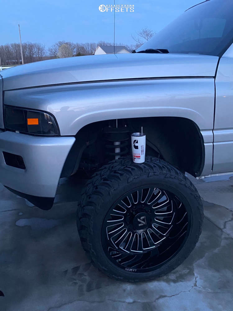 """2001 Dodge Ram 2500 Super Aggressive 3""""-5"""" on 22x12 -51 offset ARKON OFF-ROAD Alexander and 33""""x12.5"""" AMP Mud Terrain Attack M/t A on Suspension Lift 2.5"""" - Custom Offsets Gallery"""