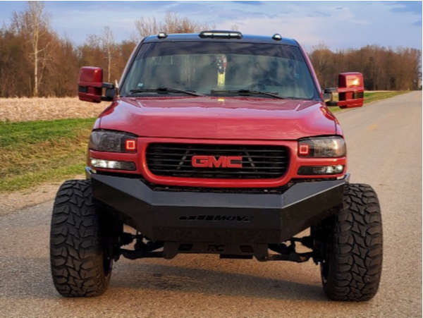"""2002 GMC Sierra 2500 HD Hella Stance >5"""" on 24x14 72 offset American Force Octane Ss and 37""""x13.5"""" Lancaster Mud Tires on Suspension Lift 6"""" - Custom Offsets Gallery"""