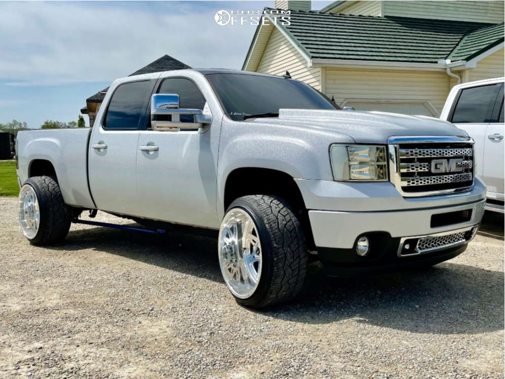 """2010 GMC Sierra 2500 HD Aggressive > 1"""" outside fender on 24x14 0 offset Fuel Forged Ff26 and 305/35 Nitto Nt420v on Level 2"""" Drop Rear - Custom Offsets Gallery"""