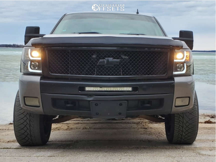 """2007 Chevrolet Silverado 1500 HD Super Aggressive 3""""-5"""" on 20x12 -51 offset Vision Rocker & 305/45 Nitto Nt420s on Leveling Kit - Custom Offsets Gallery"""