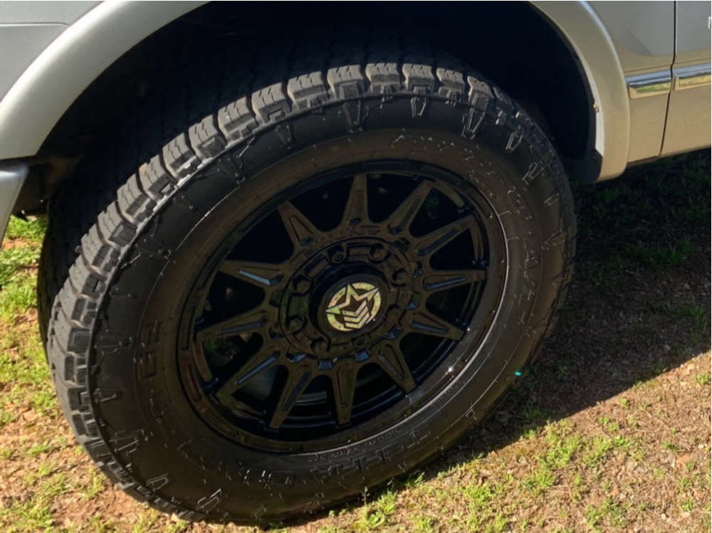 """2012 Ford F-150 Aggressive > 1"""" outside fender on 20x9 14 offset Anthem Off-Road Liberty and 295/70 Nitto Terra Grappler G2 on Leveling Kit - Custom Offsets Gallery"""