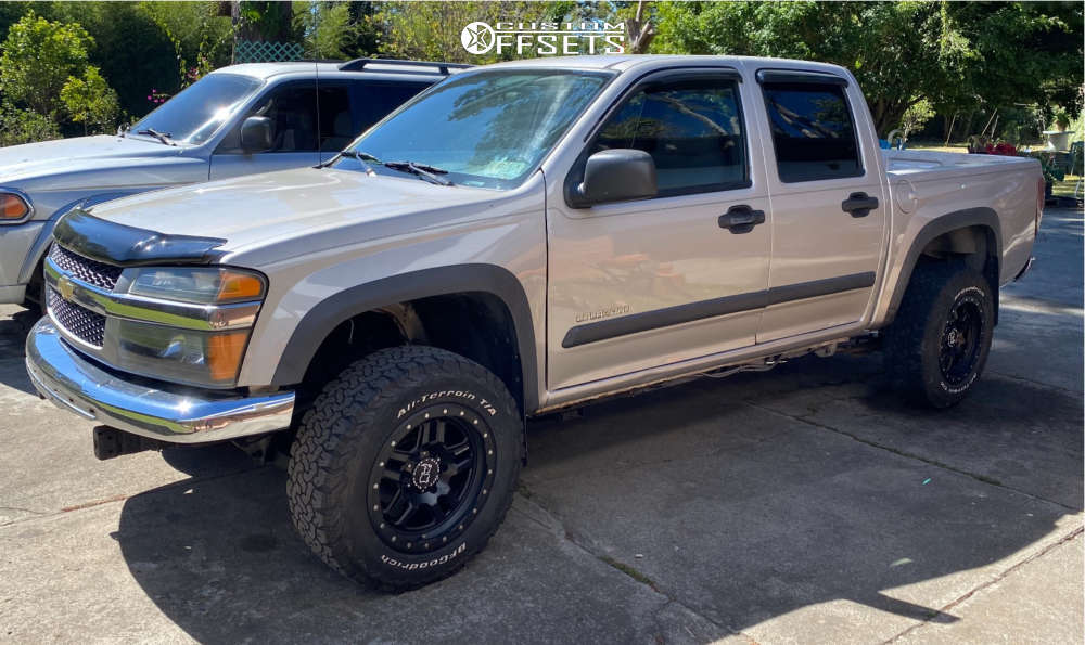 "2004 Chevrolet Colorado Aggressive > 1"" outside fender on 17x9 0 offset Black Rhino Barstow & 30""x9.5"" BFG A/T KO2 on Suspension Lift 3"" - Custom Offsets Gallery"