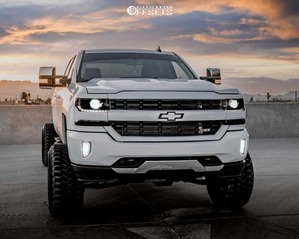 """2016 Chevrolet Silverado 1500 Hella Stance >5"""" on 24x14 -76 offset Hardcore Offroad Hc09 and 35""""x12.5"""" Haida Mud Champ on Suspension Lift 9"""" - Custom Offsets Gallery"""